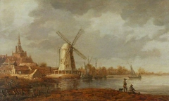 River Scene with a View of Dordrecht and a Windmill