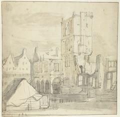 Ruïne van het afgebrande oude stadhuis van Amsterdam, 1652