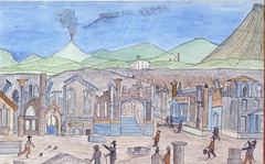 Ruins at Pompeii with Tourists