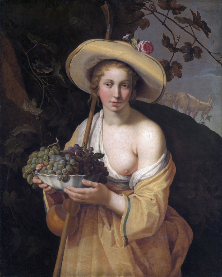 Shepherdess with bowl of grapes