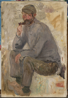 Sitting fisherman with a pipe