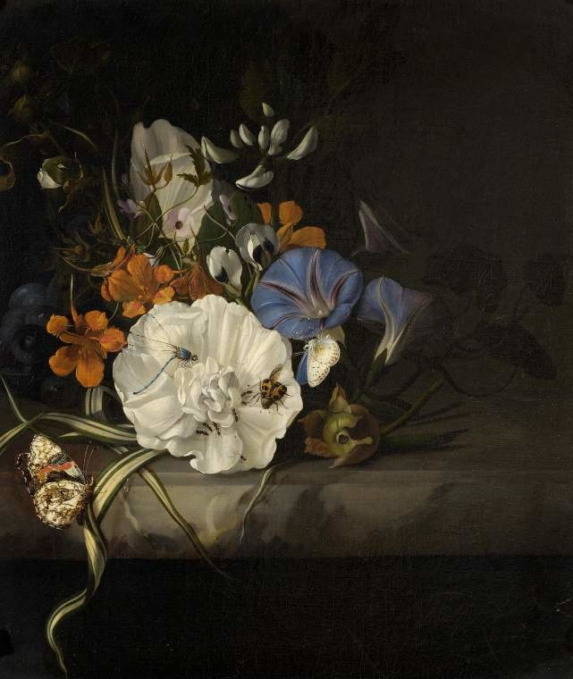 Spray of flowers with insects and butterflies on a marble slab