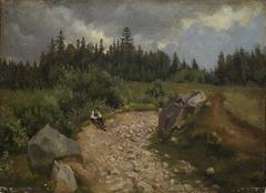 Steiniger Weg am Waldrand mit sitzendem Mann