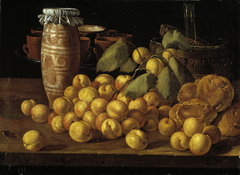 Still Life with Apricots Buns and Vessels