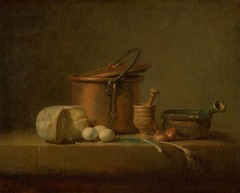 Still Life with Copper Pot, Cheese and Eggs