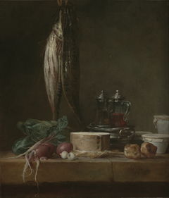 Still Life with Fish, Vegetables, Gougères, Pots, and Cruets on a Table