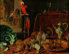Still life with parrot, an allegory of fire