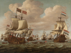 The Dutch Ship Gouden Leeuw salutes English Ship Prince