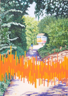 'The Old Church Path with Aircraft and Traffic Noise', (2006), 140 x 100 cm. Oil on Linen.