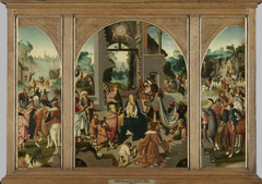 Triptych with the adoration of the Magi (centre panel and inner wings), St Antony Abbot (outer left wing) and St Adrian (outer right wing)