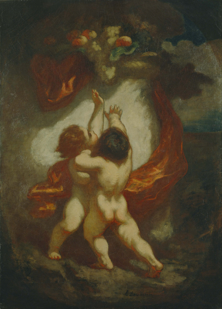 Two Children Reaching for Fruit