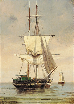 Two sailing ships at Sea.