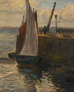 Untitled (Sailing Boat tied to a Wharf, St Ives)