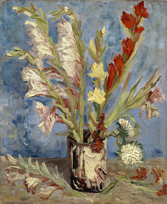 Vase with Gladioli and Chinese Asters