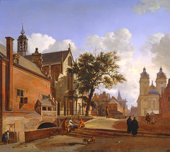 View with the Jesuit Church of St. Andreas, Dusseldorf