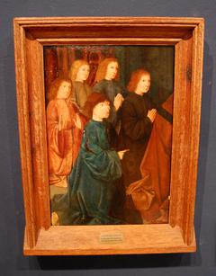 Vijf knielende figuren van een stichtersgroep
