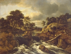 Waterfall in a hilly landscape