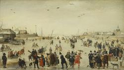 Winter Scene on a Frozen Canal