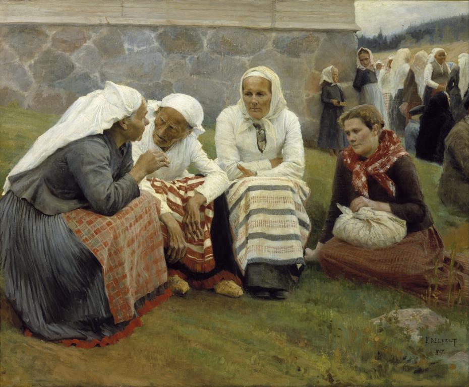 Women Outside the Church at Ruokolahti ; Women of Ruokolahti on the Church Hill