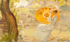 Young Girl in a Garden with Orange Umbrella