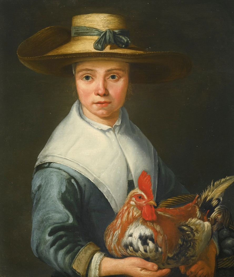 Young lady in a straw hat holding a cockerel and a basket of eggs