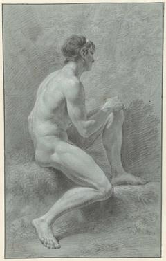Zittend mannelijk naakt met opgetrokken knie, van opzij, naar rechts
