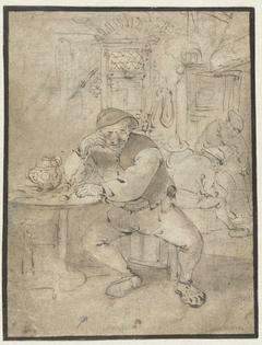Zittende boer, leunend op een tafeltje