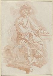 Zittende man met hoed en zwaard