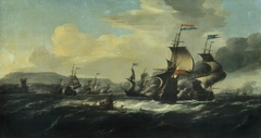A battle between the Dutch and Barbary pirates near the coast