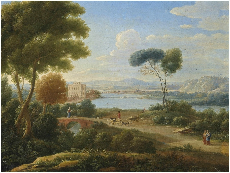 6b517c405ba6 A Classical River Landscape with Figures on a Path and a Palace in the  Distance ...