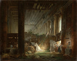 A Hermit Praying in the Ruins of a Roman Temple