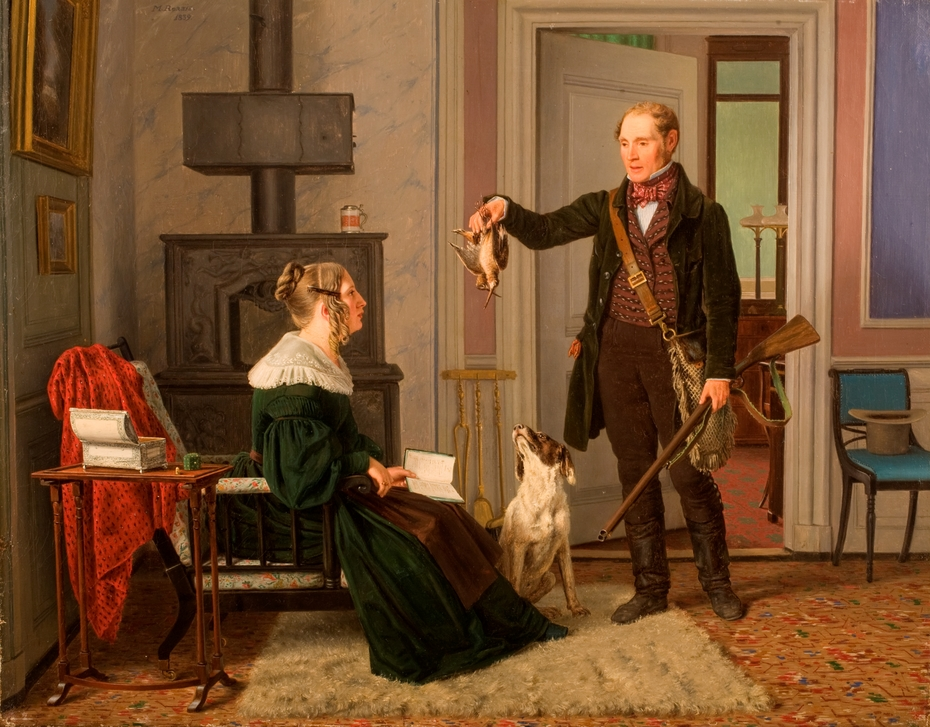 A hunter showing his wife the bag of the first snipe hunt. Portrait of the master of the Royal Hunt Chr. Fr. Zeuthen and his wife, Sophie Hedevig