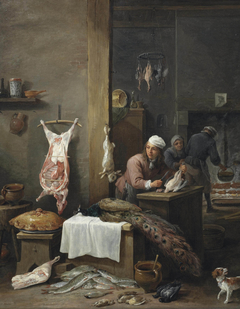 A kitchen interior with a cook preparing game at a table (Le Cuisinier Flamand)