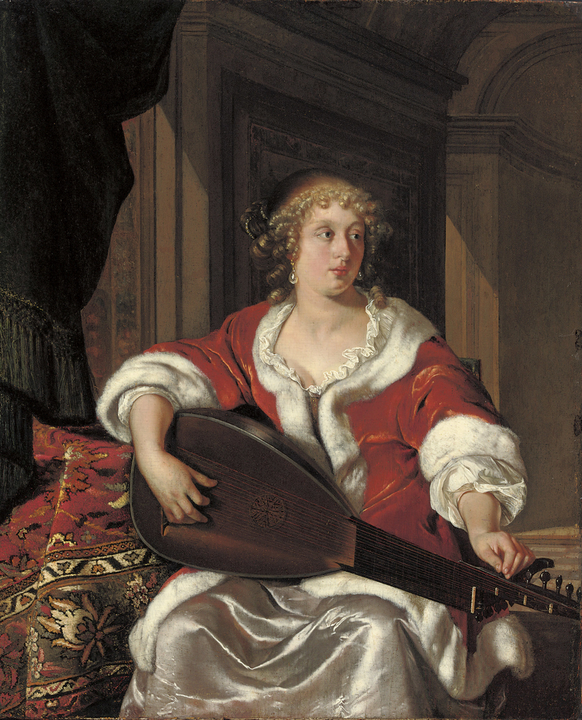A Lady tuning a Lute