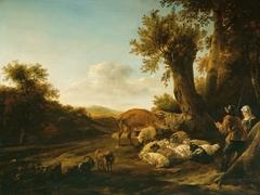 A Shepherd and Shepherdess with Flocks.