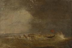 A ship driven onto shore