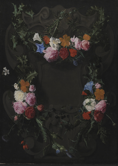 A Stone Cartouche with a Garland of Flowers