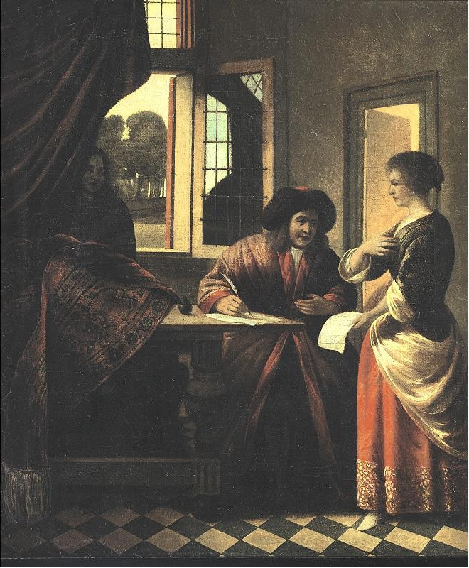 A Woman Standing before a Man Seated at a Table