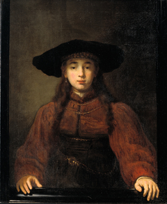 A Young Woman Resting her Hands on the Picture Frame