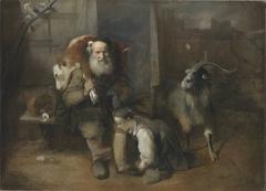Alter Bauer mit geschultertem Kalb, junger Frau und Ziegenbock