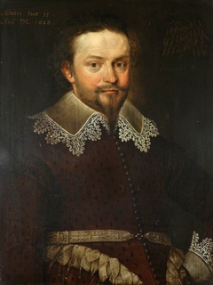 An Unknown Gentleman, aged 35, formerly called William Herbert, 3rd Earl of Pembroke KG, PC (1580-1630), possibly a member of the Meller family