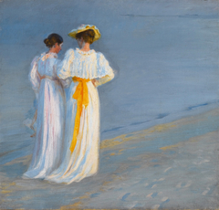 Anna Ancher and Marie Krøyer on the beach at Skagen