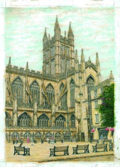 Bath Abbey, The South West prospect