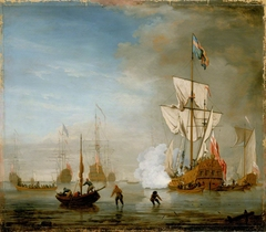 Calm: an English ketch rigged yacht, thought to be the Isabella, with other ships and vessels near the shore