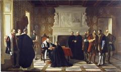 Carlos V recibe en Yuste la visita de San Francisco de Borja