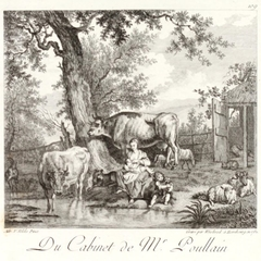 Cattle with Breastfeeding Woman and Child Playing with a Dog