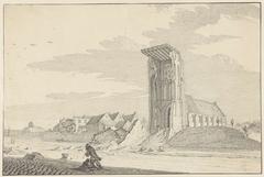 De ruïne van de toren van de kerk te Egmond