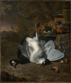Dead Birds and Hunting Equipment in a Landscape