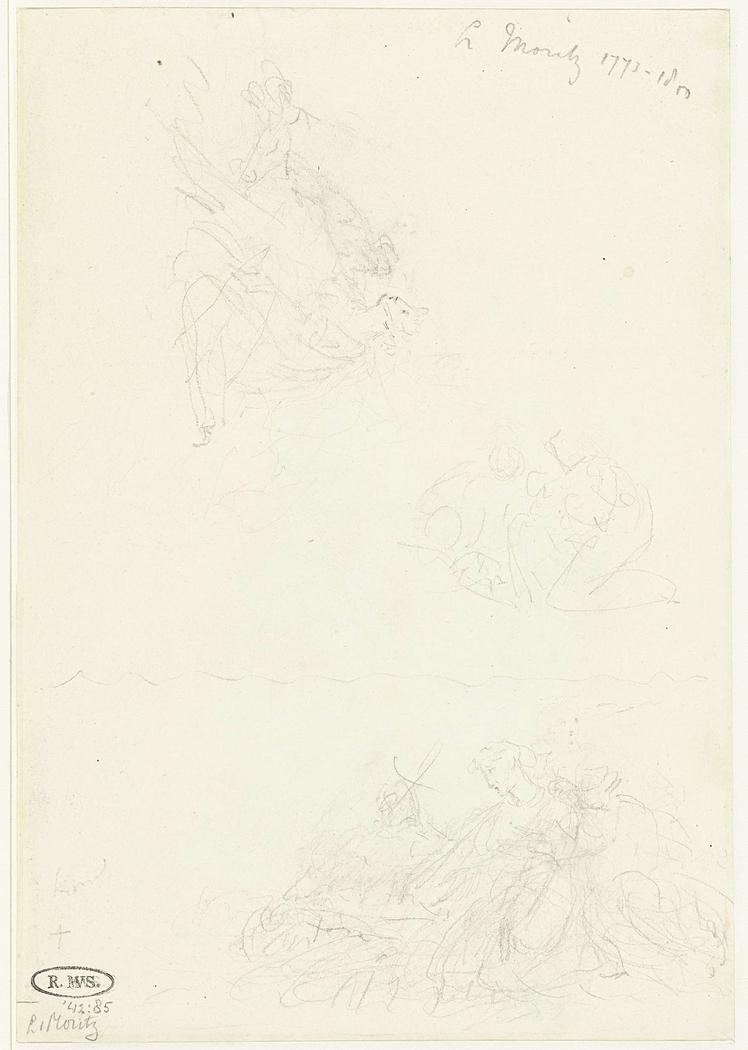 Drie schetsen van een knielende vrouwenfiguur