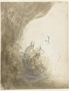 Drie schriftgeleerden onder een gordijn